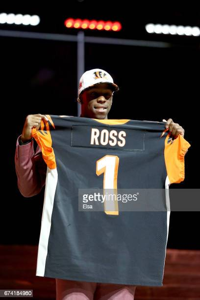 John Ross of Washington reacts after being picked overall by the Cincinnati Bengals during the first round of the 2017 NFL Draft at the Philadelphia...