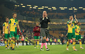 John Ruddy of Norwich City applauds supporters following relegation during the Barclays Premier League match between Norwich City and Watford at...