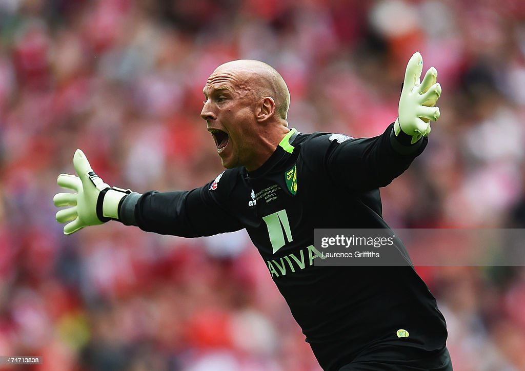 John Ruddy of Norwich City celebrates as Nathan Redmond of Norwich City scores their second goal during the Sky Bet Championship Playoff Final between Middlesbrough and Norwich City at Wembley Stadium on May 25, 2015 in London, England.