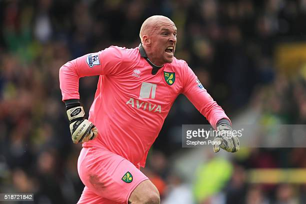 John Ruddy of Norwich City celebrates his team's third goal during the Barclays Premier League match between Norwich City and Newcastle United at...
