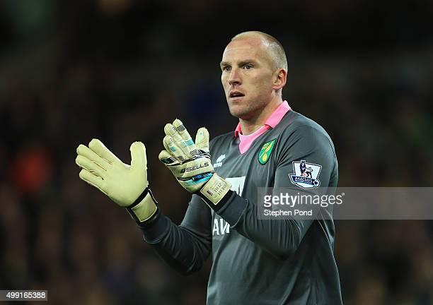 John Ruddy of Norwich City looks on during the Barclays Premier League match between Norwich City and Arsenal at Carrow Road on November 29 2015 in...