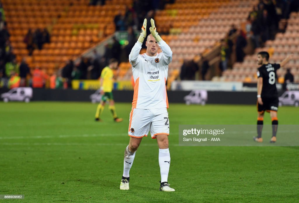 John Ruddy of Wolverhampton Wanderers during the Sky Bet Championship match between Norwich City and Wolverhampton at Carrow Road on October 31, 2017 in Norwich, England.