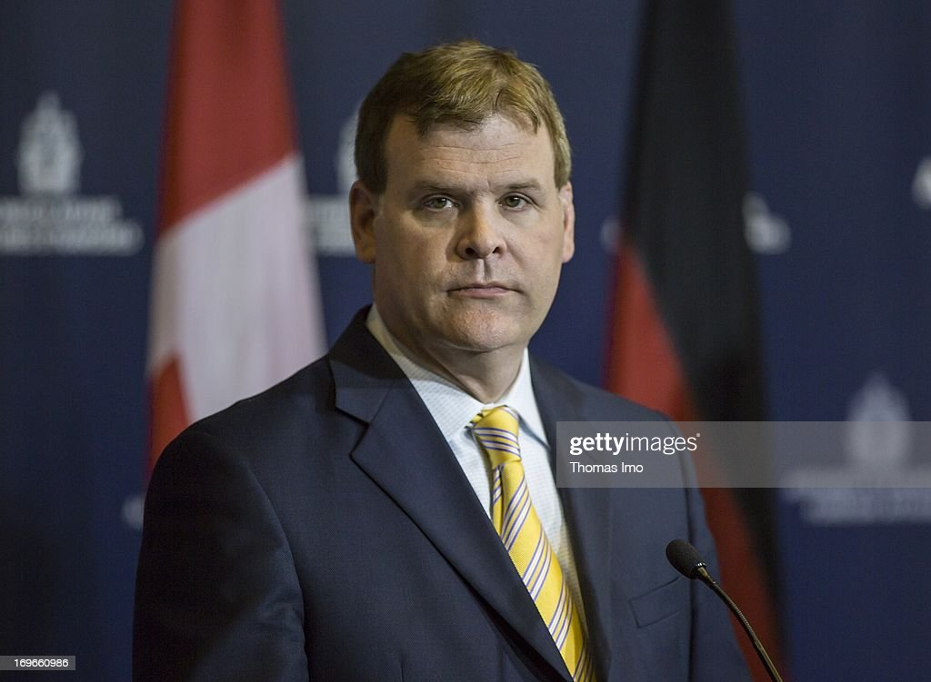 John Russell Baird, the Canadian Foreign Minister, holds a press conference with his German counterpart <a gi-track='captionPersonalityLinkClicked' href=/galleries/search?phrase=Guido+Westerwelle&family=editorial&specificpeople=208748 ng-click='$event.stopPropagation()'>Guido Westerwelle</a> on May 30, 2013 Ottawa, Canada. Westerwelle is due to discuss both bilateral and international issues, including the ongoing conflict in Syria and the nuclear threat from Iran.