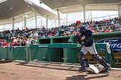 John Ryan Murphy of the Minnesota Twins looks on against the Boston Red Sox during a spring training game on March 2 2016 at JetBlue Park in Fort...