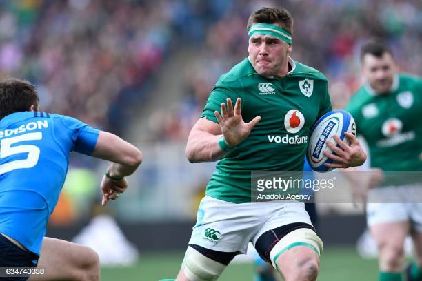 John Ryan of Ireland runs with the ball during the RBS Six Nations match between Italy and Ireland at Stadio Olimpico in Rome Italy on February 11...