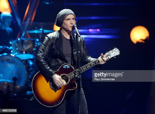 John Rzenik of band Goo Goo Dolls performs during VH1's 'Super Bowl Blitz Six Nights Six Concerts' at St George Theatre on January 31 2014 in the...