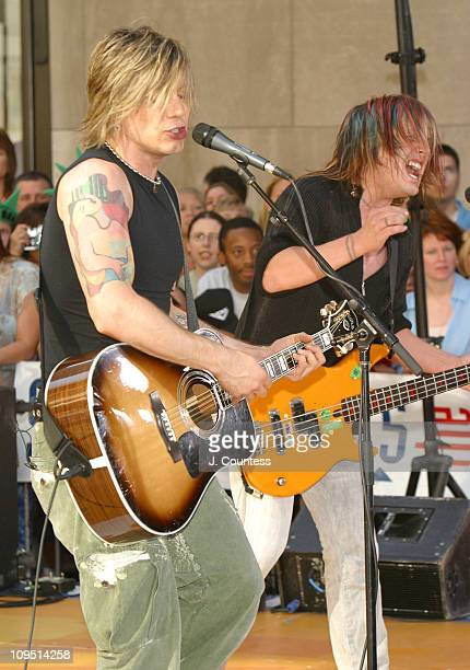 John Rzeznik and Robby Takac during Goo Goo Dolls Perform on 'The Today Show' Summer Concert Series July 25 2003 at NBC Studios Rockefeller Plaza in...