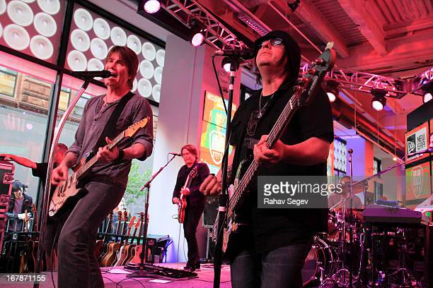 John Rzeznik and Robby Takac of the Goo Goo Dolls band perform at the MLB Fan Cave on May 1 2013 in New York City