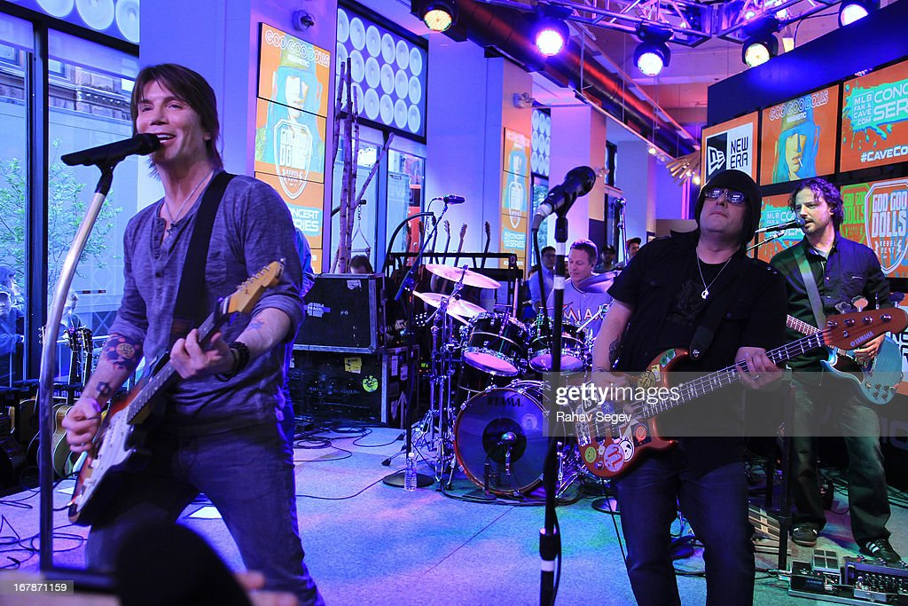 John Rzeznik and Robby Takac of the Goo Goo Dolls band perform at the MLB Fan Cave on May 1, 2013 in New York City.