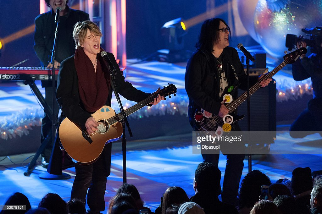 John Rzeznik and Robby Takac of the Goo Goo Dolls perform during the 81st annual Rockefeller Center Christmas Tree Lighting Ceremony on December 4...