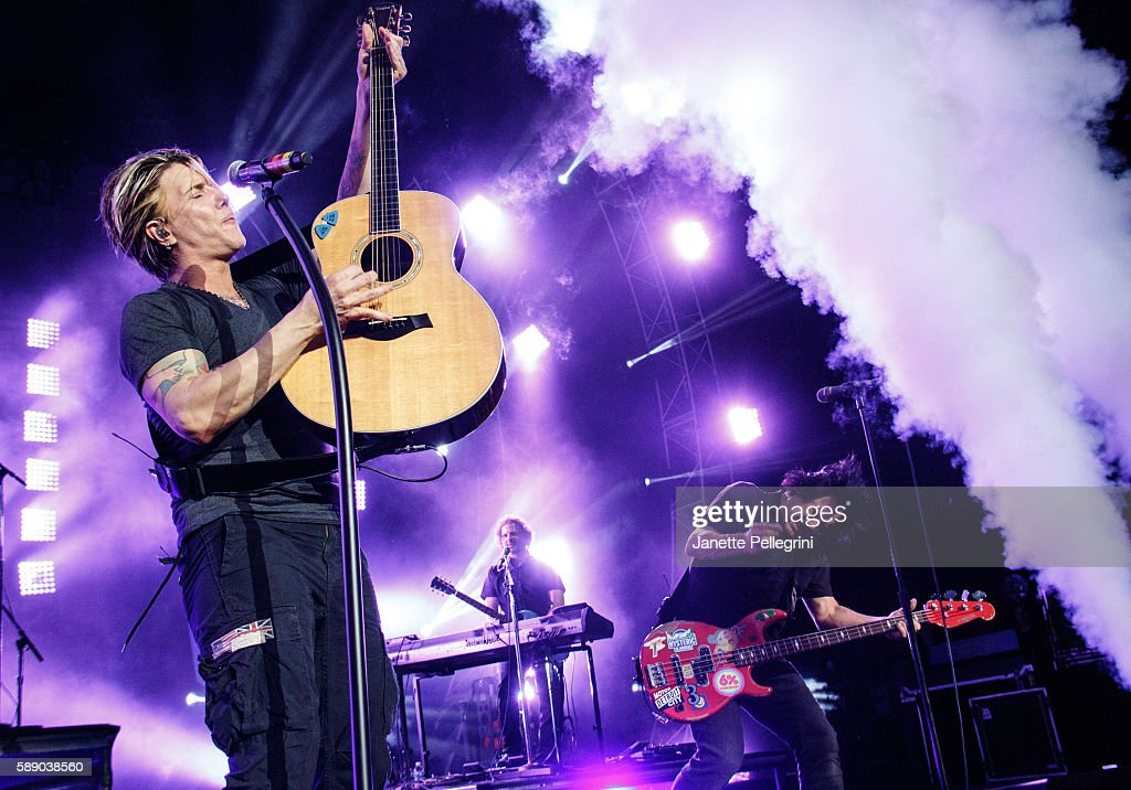 John Rzeznik and Robby Takac of The Goo Goo Dolls perform in concert at at Nikon at Jones Beach Theater on August 12 2016 in Wantagh New York