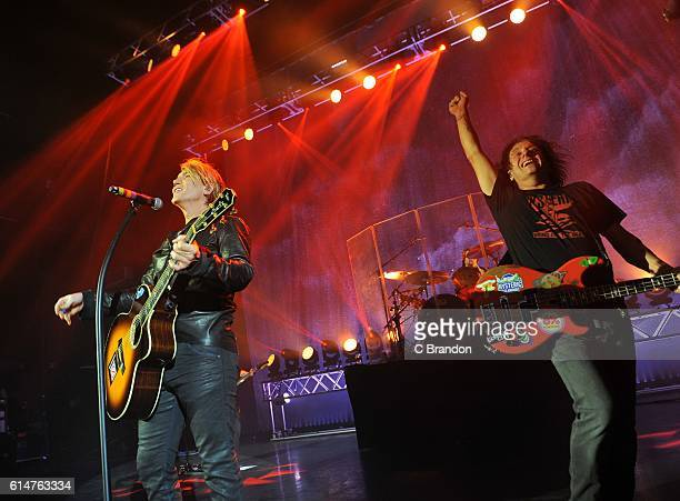 John Rzeznik and Robby Takac of the Goo Goo Dolls perform on stage at the Eventim Apollo on October 14 2016 in London England