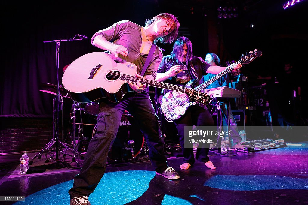 John Rzeznik (L) and Robby Takac of the Goo Goo Dolls perform on stage during 104.3FM and Warner Sound present the Goo Goo Dolls in concert at Troubadour on April 3, 2013 in West Hollywood, California.