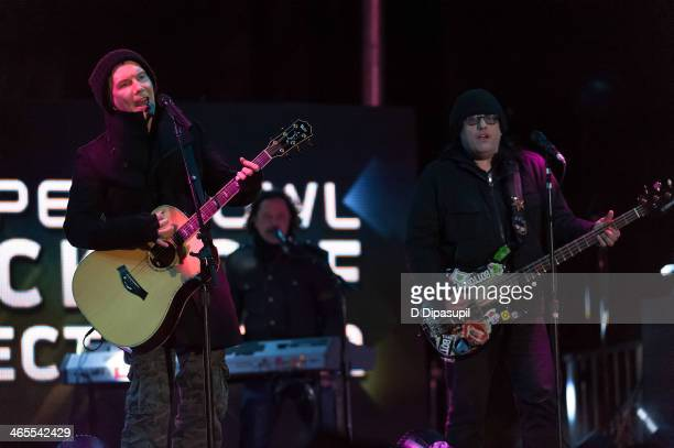 John Rzeznik and Robby Takac of the Goo Goo Dolls perform on stage during the Super Bowl Kickoff Spectacular at Liberty State Park on January 27 2014...