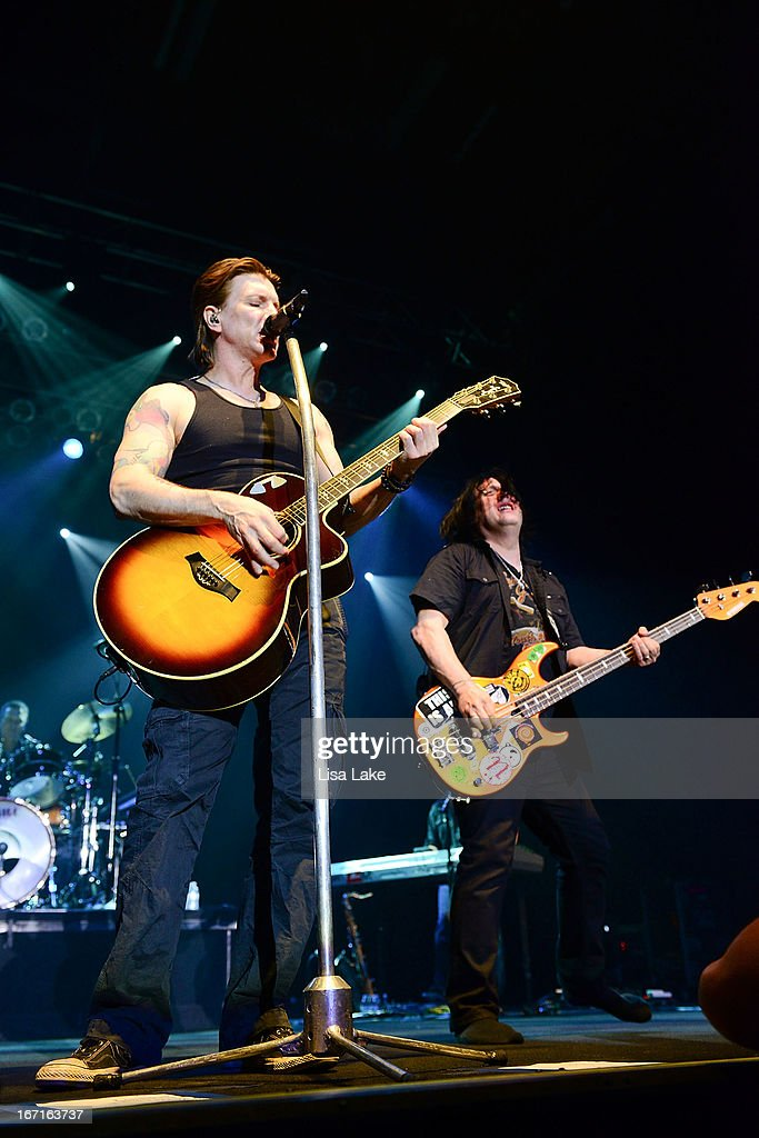 John Rzeznik and Robby Takac of The Goo-Goo Dolls performs live on stage at the Sands Bethlehem Event Center on April 21, 2013 in Bethlehem, Pennsylvania.