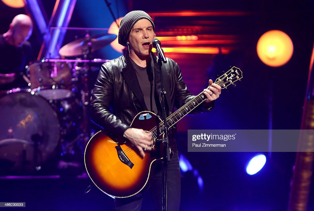 <a gi-track='captionPersonalityLinkClicked' href=/galleries/search?phrase=John+Rzeznik&family=editorial&specificpeople=220876 ng-click='$event.stopPropagation()'>John Rzeznik</a> of band the Goo Goo Dolls performs during VH1's 'Super Bowl Blitz: Six Nights + Six Concerts' at St. George Theatre on January 31, 2014 in the Staten Island borough of New York City.