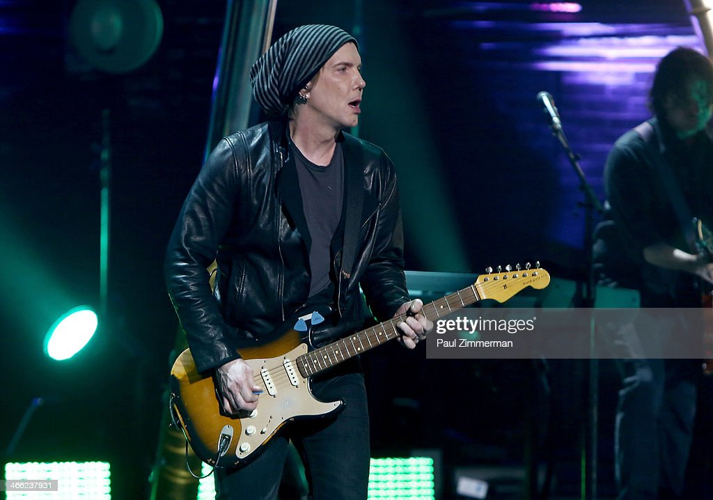 <a gi-track='captionPersonalityLinkClicked' href=/galleries/search?phrase=John+Rzeznik&family=editorial&specificpeople=220876 ng-click='$event.stopPropagation()'>John Rzeznik</a> of the band Goo Goo Dolls performs during VH1's 'Super Bowl Blitz: Six Nights + Six Concerts' at St. George Theatre on January 31, 2014 in the Staten Island borough of New York City.