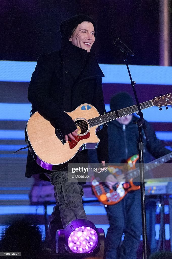 John Rzeznik of the Goo Goo Dolls performs on stage during the Super Bowl Kickoff Spectacular at Liberty State Park on January 27 2014 in Jersey City...
