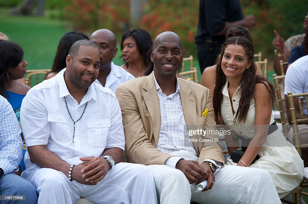 John Salley (C) attends the wedding of Chad Ochocinco and Evelyn Lozada at Le Chateau des Palmiers on July 4, 2012 in St. Maarten, Netherlands Antillies.