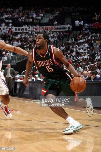 John Salmons of the Milwaukee Bucks drives the ball up court against the Atlanta Hawks in Game Five of the Eastern Conference Quarterfinals during...