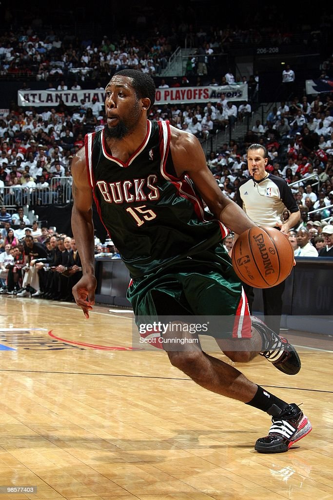 John Salmons of the Milwaukee Bucks drives to the baset against the Atlanta Hawks in Game One of the Eastern Conference Quarterfinals during the 2010...