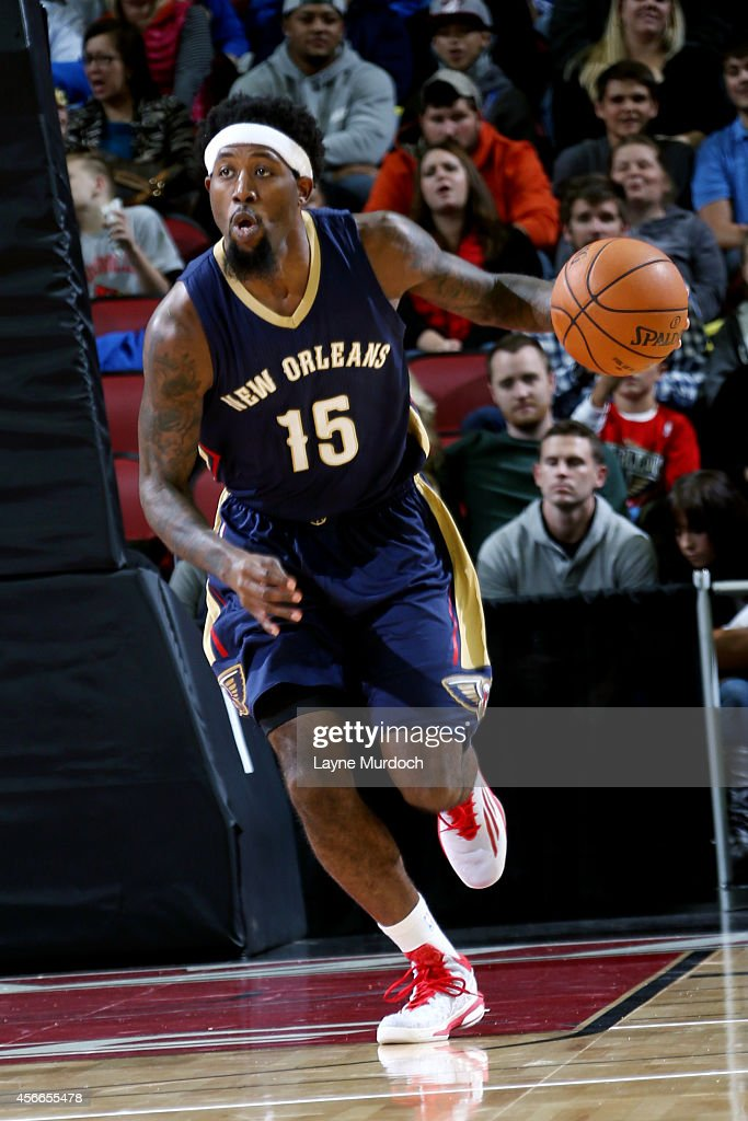 John Salmons of the New Orleans Pelicans drives against the Miami Heat during an NBA game on October 4 2014 at the KFC Yum Center in Louisville KY...