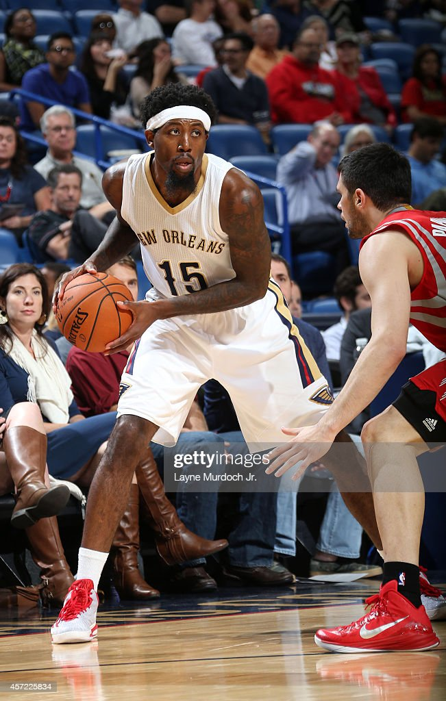 John Salmons of the New Orleans Pelicans handles the ball against the Houston Rockets at the Smoothie King Center on October 14 2014 in New Orleans...
