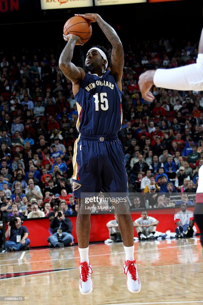 John Salmons of the New Orleans Pelicans shoots against the Miami Heat during an NBA game on October 4 2014 at the KFC Yum Center in Louisville KY...