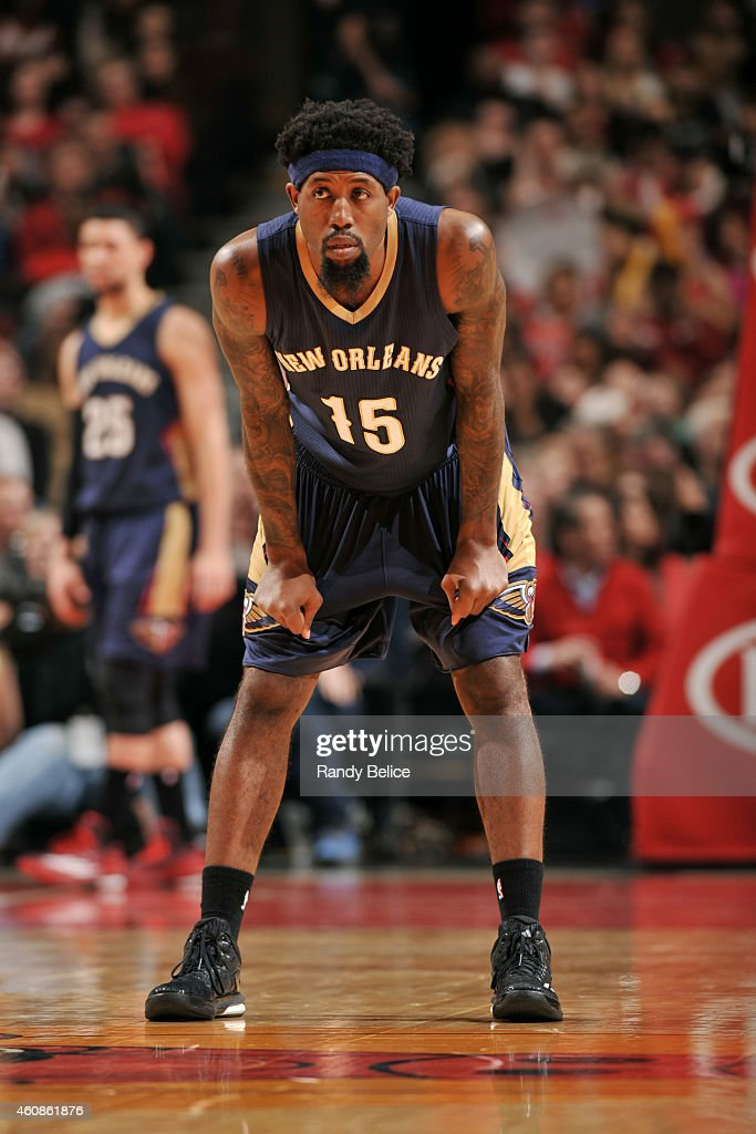 John Salmons of the New Orleans Pelicans stands on the court during a game against the Chicago Bulls on December 27 2014 at the United Center in...