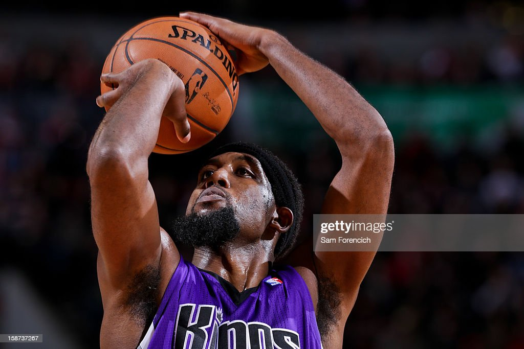 John Salmons #5 of the Sacramento Kings shoots a free-throw against the Portland Trail Blazers on December 26, 2012 at the Rose Garden Arena in Portland, Oregon.