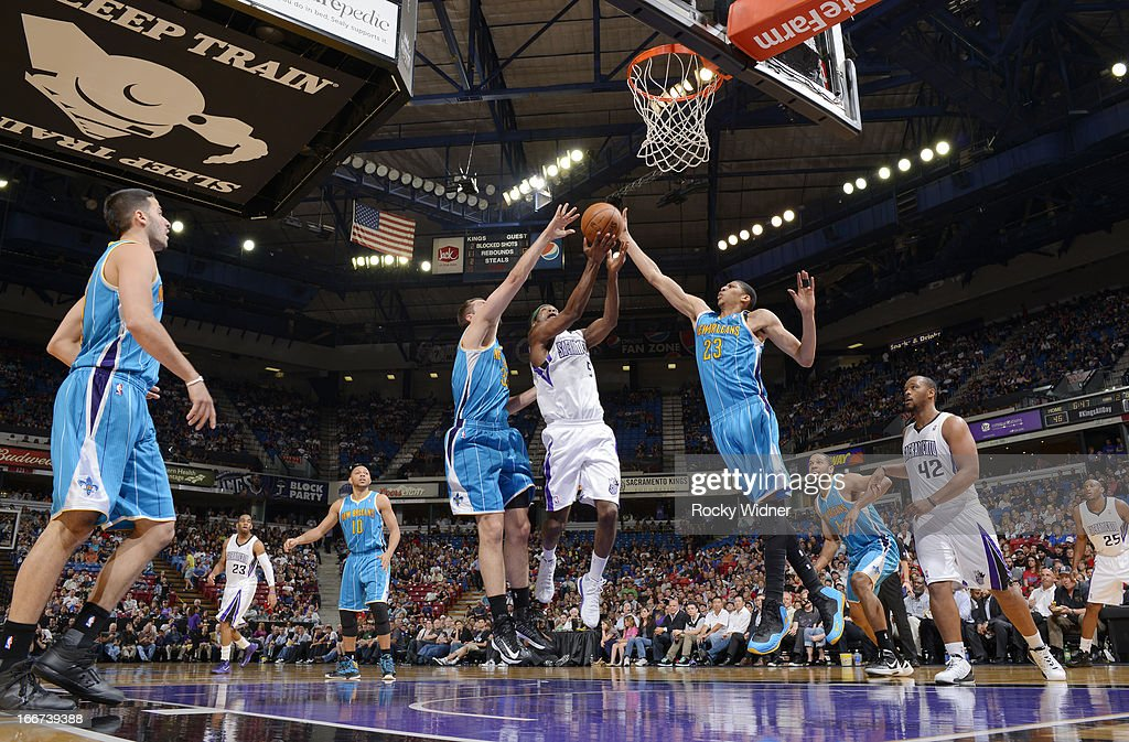 John Salmons #5 of the Sacramento Kings shoots a layup against Anthony Davis #23 of the New Orleans Hornets on April 10, 2013 at Sleep Train Arena in Sacramento, California.