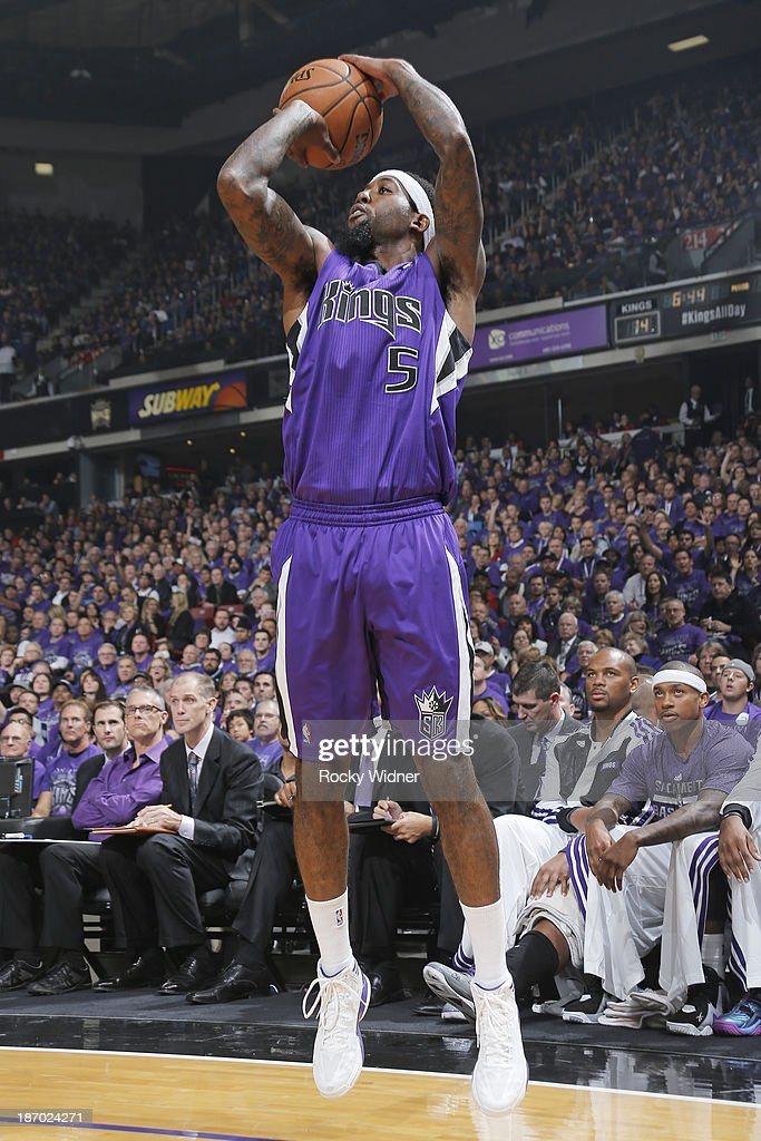 John Salmons of the Sacramento Kings shoots a three pointer against the Denver Nuggets on October 30 2013 at Sleep Train Arena in Sacramento...