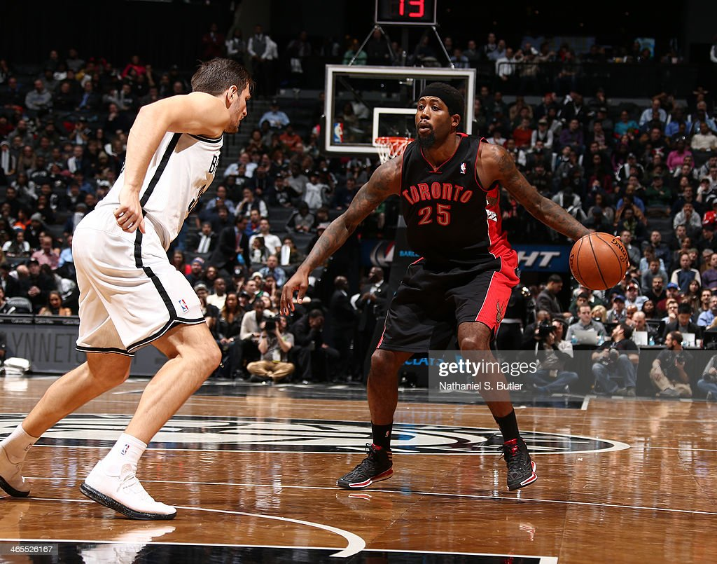 <a gi-track='captionPersonalityLinkClicked' href=/galleries/search?phrase=John+Salmons&family=editorial&specificpeople=202524 ng-click='$event.stopPropagation()'>John Salmons</a> #25 of the Toronto Raptors drives against Mirza Teletovic #33 of the Brooklyn Nets during a game at Barclays Center in Brooklyn.