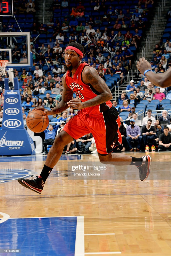John Salmons of the Toronto Raptors drives against the Orlando Magic on March 30 2014 at Amway Center in Orlando Florida NOTE TO USER User expressly...