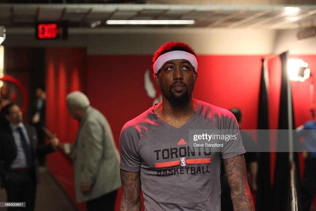John Salmons of the Toronto Raptors gets ready before Game One of the Quarterfinal NBA Eastern Conference playoff game against the Brooklyn Nets at...