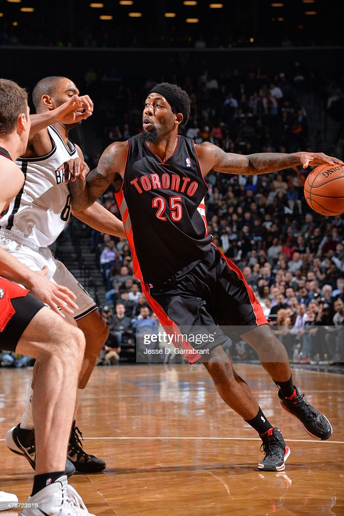 <a gi-track='captionPersonalityLinkClicked' href=/galleries/search?phrase=John+Salmons&family=editorial&specificpeople=202524 ng-click='$event.stopPropagation()'>John Salmons</a> #25 of the Toronto Raptors handles the ball against the Brooklyn Nets on March 10, 2014 at the Barclays Center in Brooklyn, New York.
