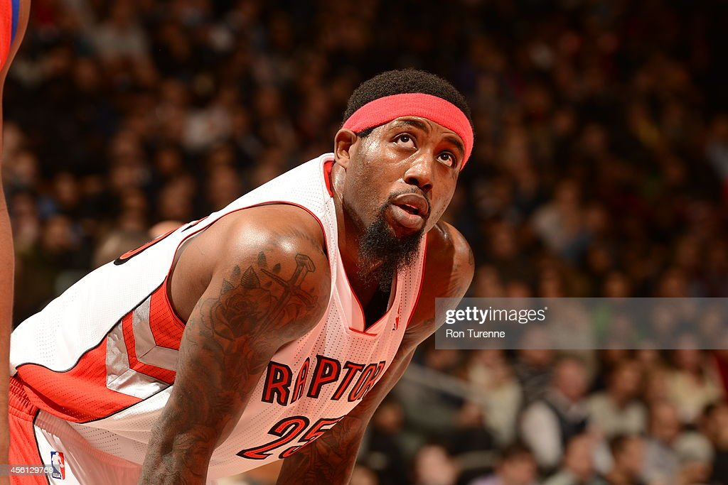 John Salmons of the Toronto Raptors looks on against the Philadelphia 76ers on December 13 2013 at the Air Canada Centre in Toronto Ontario Canada...