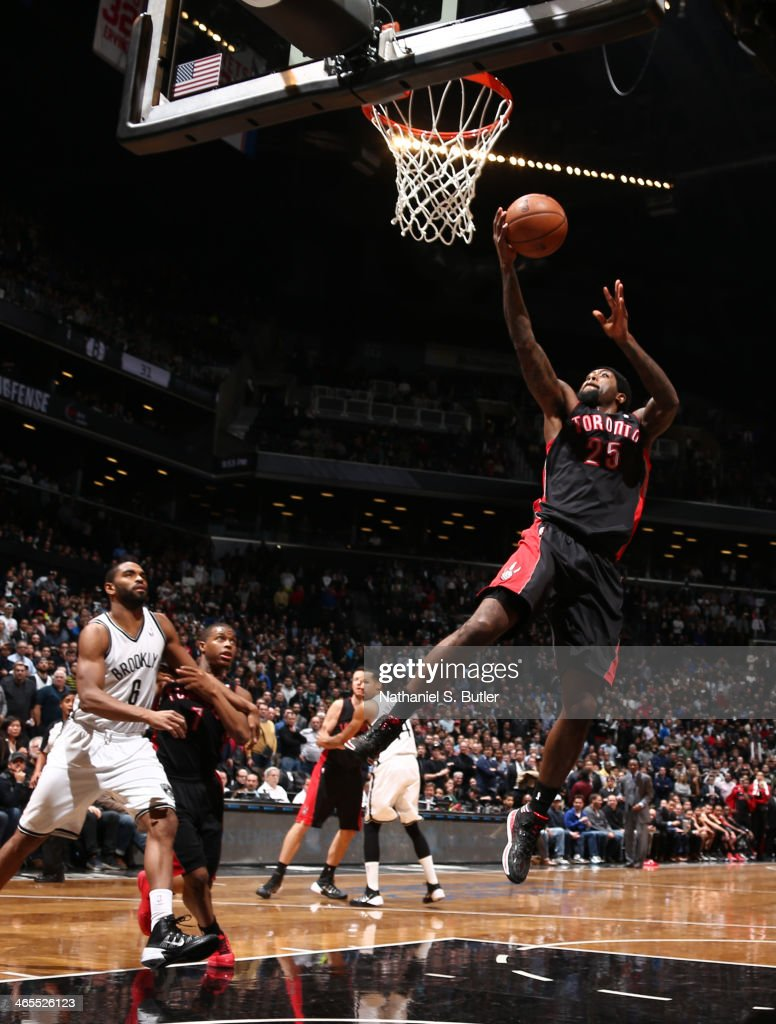 John Salmons of the Toronto Raptors shoots against the Brooklyn Nets during a game at Barclays Center in Brooklyn NOTE TO USER User expressly...