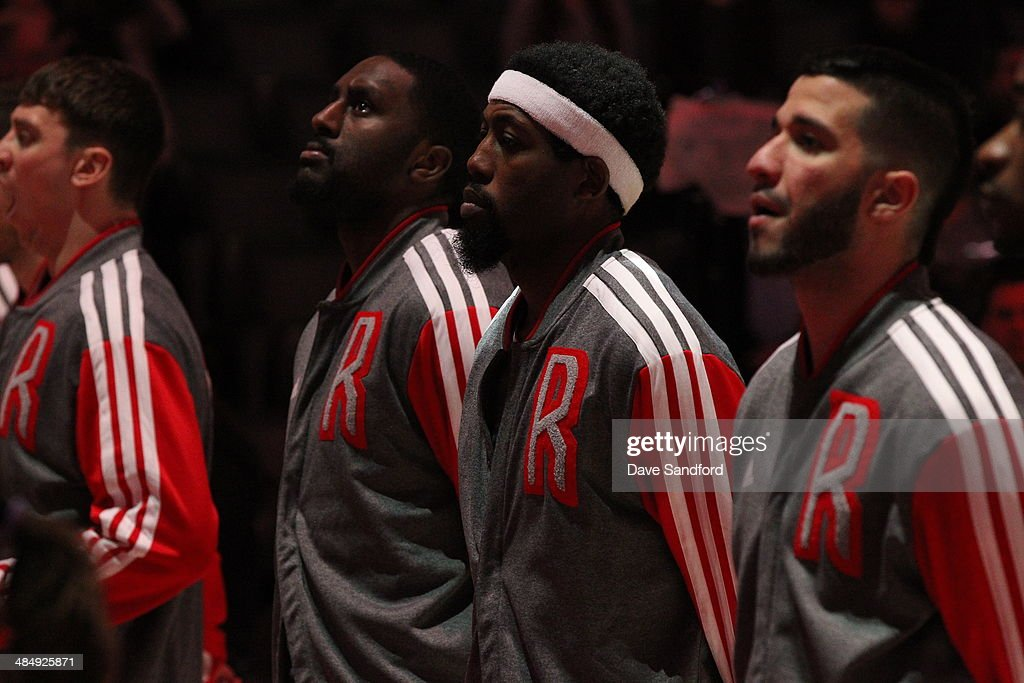 John Salmons of the Toronto Raptors stands on the court before the game against the New York Knicks at the Air Canada Centre on April 11 2014 in...