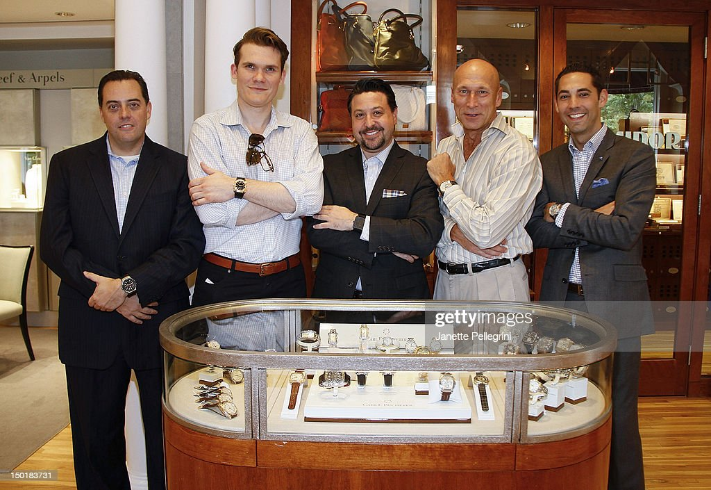 John Salvin from Hublot, <a gi-track='captionPersonalityLinkClicked' href=/galleries/search?phrase=Keith+Davis&family=editorial&specificpeople=580211 ng-click='$event.stopPropagation()'>Keith Davis</a>, Eric Frank from Bell & Ross, Ron Stoll from Carl F. Bucherer, Michael Hopper from Baume & Mercier attend Hamptons Magazine Celebrates The London Jewelers Watch Fair on August 11, 2012 in East Hampton, New York.