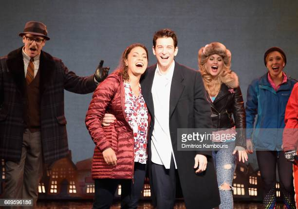 John Sanders Barrett Doss Andy Karl and Rebecca Faulkenberry perform onstage at the 'Groundhog Day' Broadway Opening Night at August Wilson Theatre...