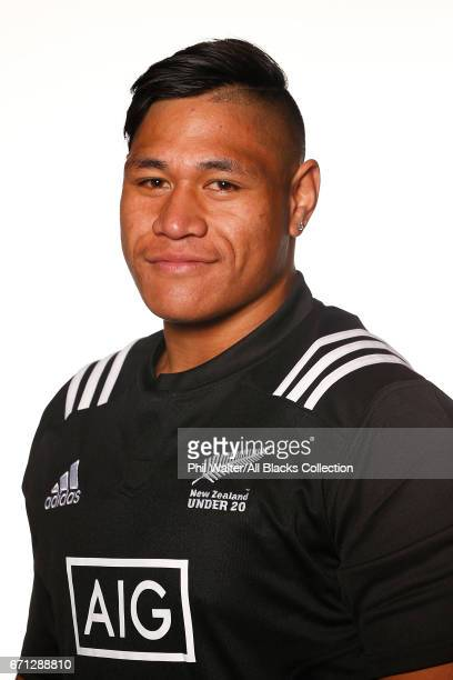 John Sauni poses during the New Zealand U20 Headshots Session at Novotel Auckland Airport on April 22 2017 in Auckland New Zealand