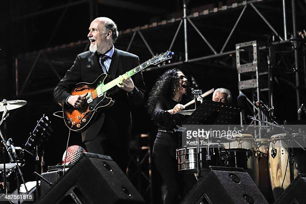 John Scofield and Shelia E perform on stage at the 2014 International Jazz Day Global Concert on April 30 2014 in Osaka Japan