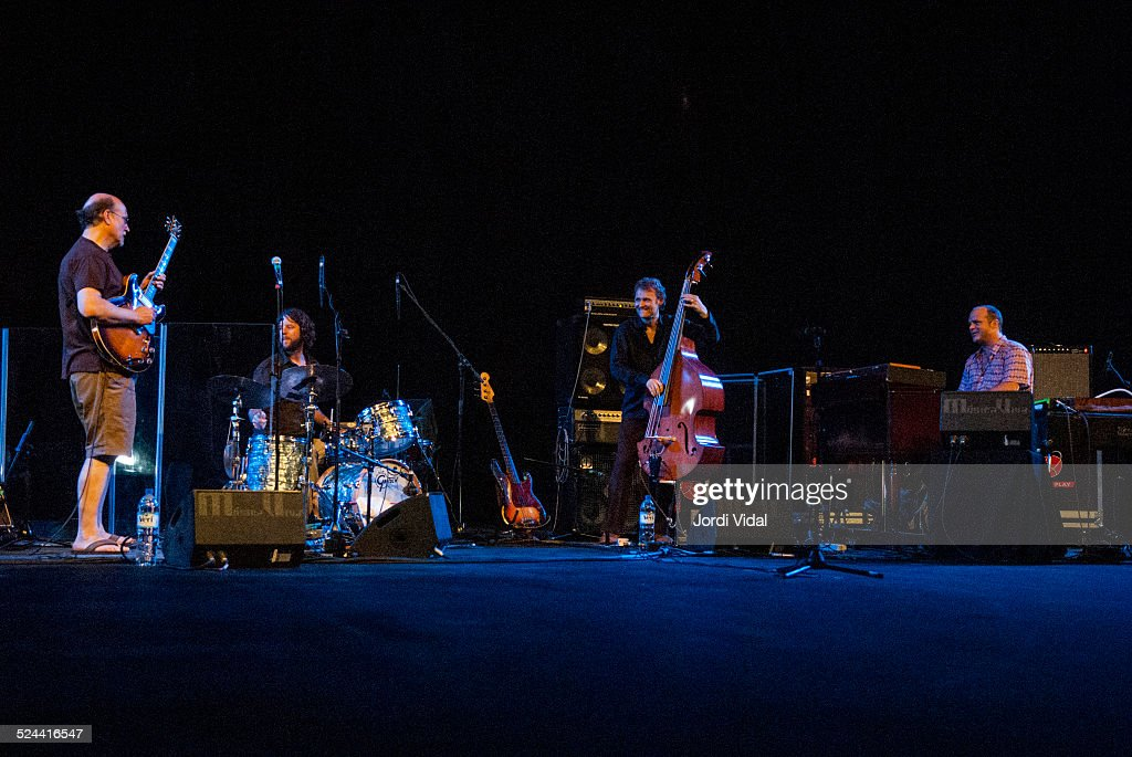 John Scofield Billy Martin Chris Wood and John Medeski of Medeski Scofield Martin and Wood perform on stage during Festival Grec at Teatre Grec on...