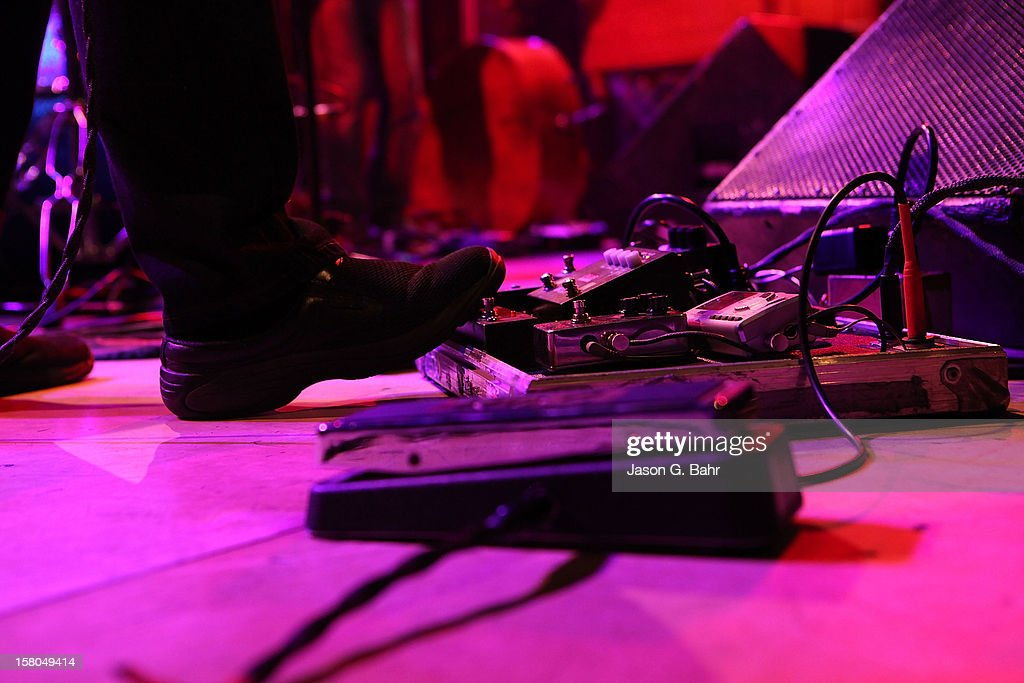 <a gi-track='captionPersonalityLinkClicked' href=/galleries/search?phrase=John+Scofield&family=editorial&specificpeople=789643 ng-click='$event.stopPropagation()'>John Scofield</a> (Pedal Board Detail) of Madeski Scofield Martin & Wood performs at Ogden Theatre on December 7, 2012 in Denver, Colorado.