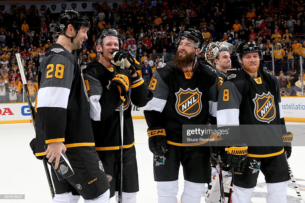 <a gi-track='captionPersonalityLinkClicked' href=/galleries/search?phrase=John+Scott+-+Ice+Hockey+Player&family=editorial&specificpeople=10837846 ng-click='$event.stopPropagation()'>John Scott</a> #28 of the Arizona Coyotes, <a gi-track='captionPersonalityLinkClicked' href=/galleries/search?phrase=Corey+Perry&family=editorial&specificpeople=213864 ng-click='$event.stopPropagation()'>Corey Perry</a> #10 of the Anaheim Ducks, <a gi-track='captionPersonalityLinkClicked' href=/galleries/search?phrase=Brent+Burns&family=editorial&specificpeople=212883 ng-click='$event.stopPropagation()'>Brent Burns</a> #88 of the San Jose Sharks, <a gi-track='captionPersonalityLinkClicked' href=/galleries/search?phrase=John+Gibson+-+Ice+Hockey+Player&family=editorial&specificpeople=12845361 ng-click='$event.stopPropagation()'>John Gibson</a> #36 of the Anaheim Ducks, and <a gi-track='captionPersonalityLinkClicked' href=/galleries/search?phrase=Joe+Pavelski&family=editorial&specificpeople=687042 ng-click='$event.stopPropagation()'>Joe Pavelski</a> #8 of the San Jose Sharks react after defeating the Atlantic Division All-Stars during the 2016 Honda NHL All-Star Final Game between the Eastern Conference and the Western Conference at Bridgestone Arena on January 31, 2016 in Nashville, Tennessee.