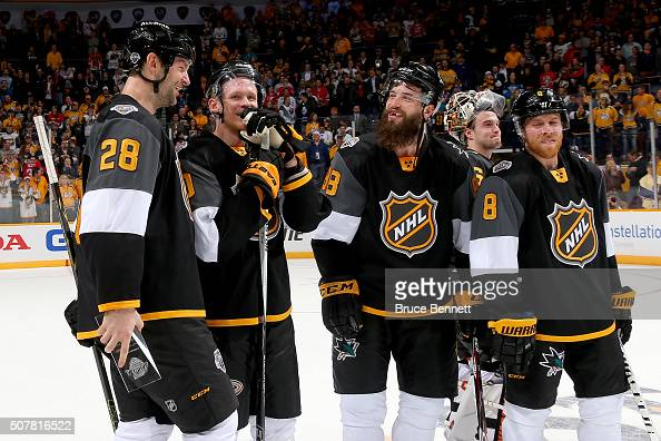 John Scott of the Arizona Coyotes Corey Perry of the Anaheim Ducks Brent Burns of the San Jose Sharks John Gibson of the Anaheim Ducks and Joe...