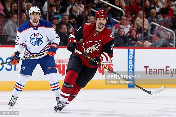 John Scott of the Arizona Coyotes in action during the NHL game against the Edmonton Oilers at Gila River Arena on November 12 2015 in Glendale...