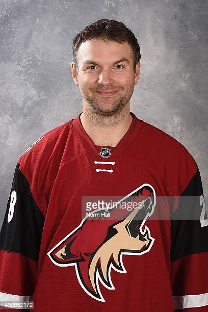 John Scott of the Arizona Coyotes poses for his official headshot for the 20152016 season at Gila River Arena on September 17 2015 in Glendale Arizona
