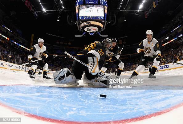 John Scott of the Arizona Coyotes scores against goaltender Pekka Rinne of the Nashville Predators during the Western Conference Semifinal Game...